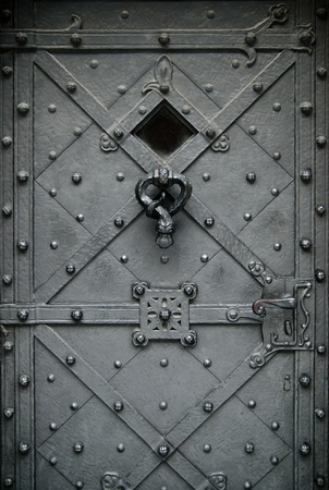 Elegant wrought iron hand made forged door photo