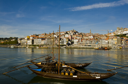 rabelo: Riverbank of  Porto with old rabelo ships, Poto, Portugal