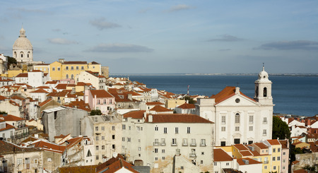 Beautiful panorama of Lisbon old city, Portugal photo