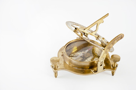 navigational: Old brass sextant. Measuring instrument for navigation isolated.  Stock Photo