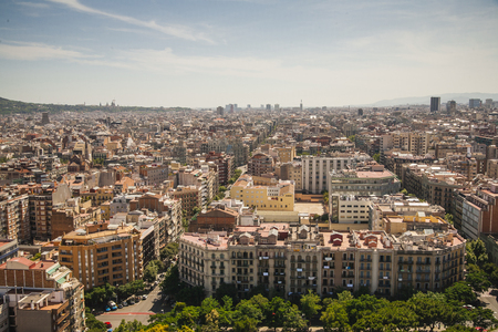 Panoramic view of Barcelona from the top of Sagrada Familia, Spain photo