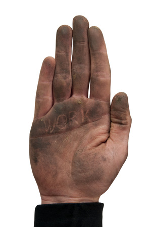 stoking: Man show his dirty hand with palms up isolated on white.