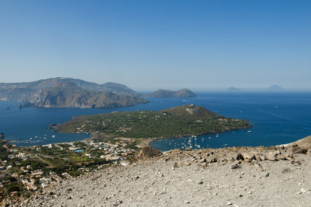 panarea: Panoramic view of a Vulcan crater (Vulcano Island, Sicily). Stock Photo