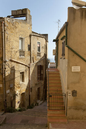 residential idyll: Alleyway with stair in Agrigento, Sicily.