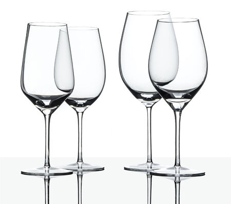 christal: Empty red and white wine glasses isolated on white with reflection
