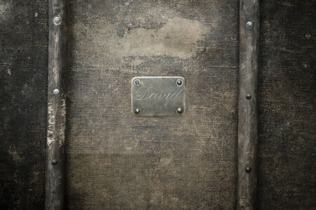 rusted: Rusty copper name plate on wood background framed   Stock Photo