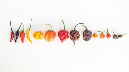 chili sauce: a colorful mix of the hottest chili peppers. Thai chili, habanero, serrano, jalapeno, bhut jolokia, trinidad scorpion, carolina reaper, jamaican yellow, black chili Stock Photo