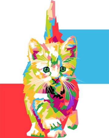 Cute pop art cat