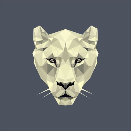 White lioness low poly style