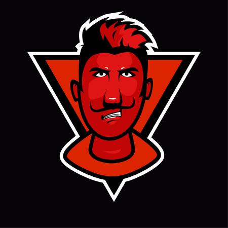 mascotte de visage rouge Vecteurs