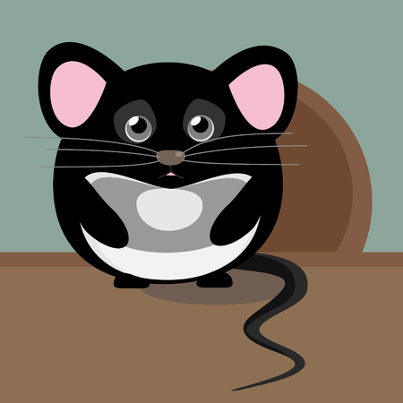 mammary: Lovely cute image with vector character. Illustration with cute gray sad little mouse. Isolated from background. Illustration
