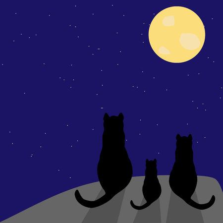 Silhouette of three black cats with full moon and stars on the sky