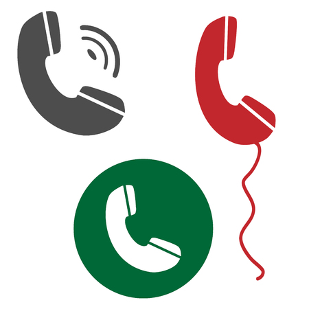 telephone icons: Vector illustration picture set with the telephone handset icons. Illustration