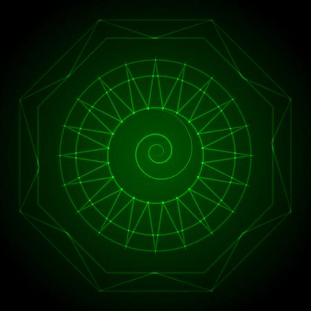 powerful aura: Geometry neon hexagon in green. Vector illustration Illustration