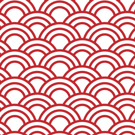 Traditional japanese seamless wave pattern in red Vector Illustration