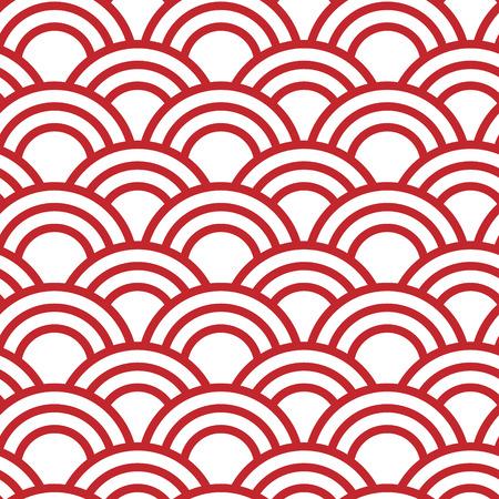 Traditioneel Japans naadloos golfpatroon in rood Vector Illustratie