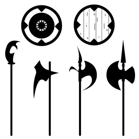 halberd: Set of historical halberd silhouettes. Illustration with slashing weapons on a light background.