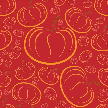 Vector outline pumpkins seamless pattern. Pumpkin patch background. Orange color.