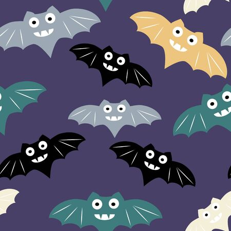 Halloween seamless pattern with colorul bat. Beautiful vector background for decoration halloween designs. Cute minimalistic art elements on white backdrop.