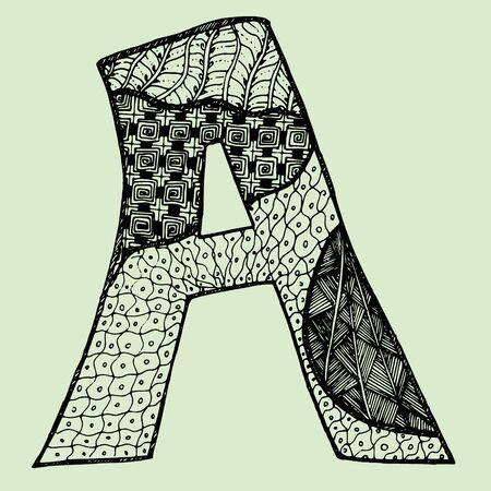 Sketchy letter A on light-green background. Free hand drawn. Vector illustration. Illustration