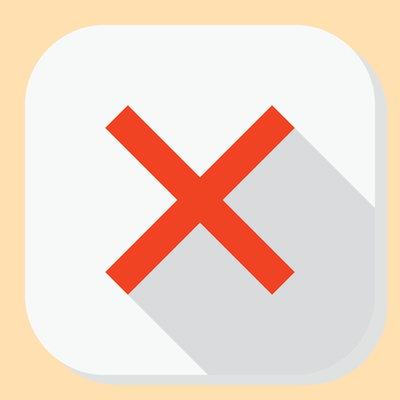 Delete close exit icon. Symbol with cross for web application menu. Flat design button with long shadow.