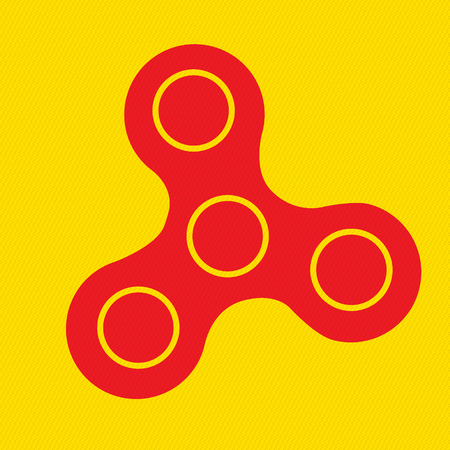 Spinner icon - toy for stress relief and improvement of attention span. Isolated sign symbol. Hand fidger spinner.