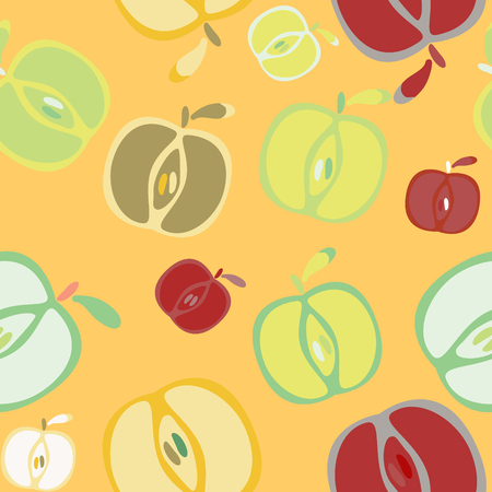 fall leaves: Seamless background with apples Stock Photo