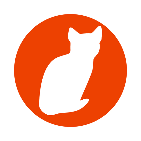 comfortable: Vector cat logo. Light white silhouette isolated from background. Cat pet in line art.