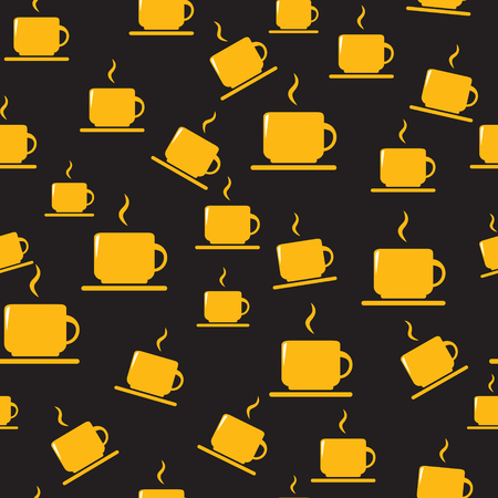 Cups seamless pattern. Tea or coffee cups on dark background.