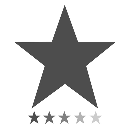 Isolated gray star icons in set, ranking mark. Modern simple favorite sign, decoration symbol for website design, web button, mobile app.