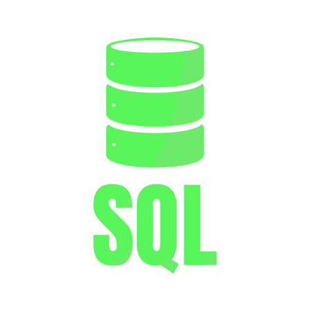 SQL Database Icon Logo Design UI or UX App. Green inscription with shadow Illustration