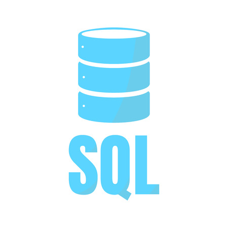 sql: SQL Database Icon Logo Design UI or UX App. Blue inscription with shadow Illustration