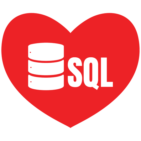 SQL Database Icon Logo Design UI or UX App. White inscription in heart. I love SQL