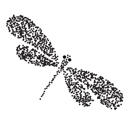 Vector dragon-fly silhouette. Cartoon graphic illustration of damselfly isolated with black and white wings. Sketch insect dragonfly. Vector insects illustration