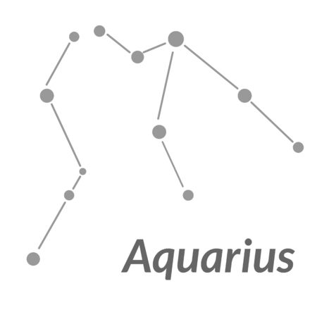 The Water-Bearer aquarius sing. Star constellation vector element. Age of aquarius constellation zodiac symbol on light white background.