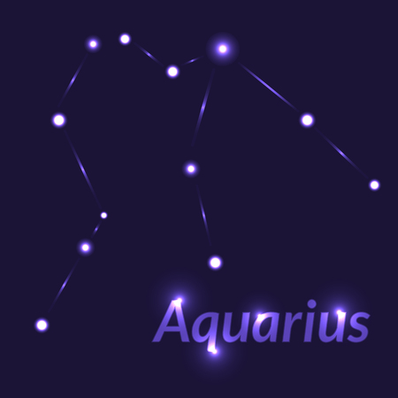 The Water-Bearer aquarius sing. Star constellation vector element. Age of aquarius constellation zodiac symbol on dark blue background.
