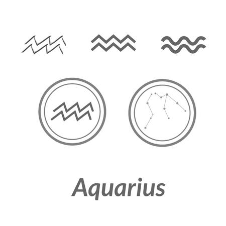 The Water-Bearer aquarius sings set. Star constellation vector element. Age of aquarius constellation zodiac symbol on light white background.