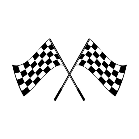 Crossed waving black and white checkered flags logo conceptual of motor sport, isolated on white
