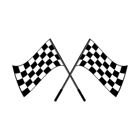 Logo a quadretti bianco e nero d'ondeggiamento attraversato delle bandiere concettuale dello sport del motore, isolato su bianco Logo