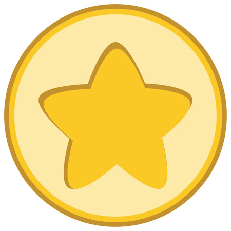 Isolated yellow star icon, ranking mark, chiseled element in light round on white background. Illustration