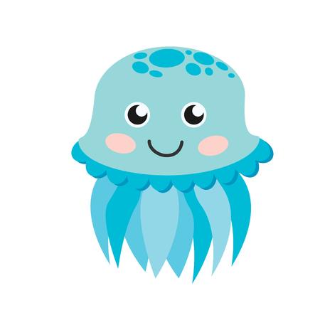 Cute happy jellyfish cartoon character sea animal illustration. Invertebrate animal sea fauna jellyfish medusa illustration. Nature animal aquatic medusa, aquarium tropical marine.