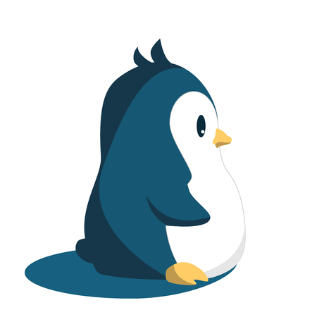 Abstract cute penguin isolated in cartoon style on white and blue background. Funny image. illustration.