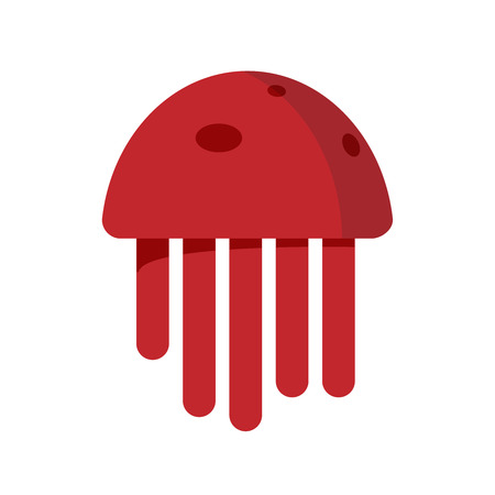 Cute jellyfish red cartoon character sea animal illustration. Invertebrate animal sea fauna medusa illustration. Nature animal aquatic medusa, aquarium tropical marine. Stock Illustration - 83522180