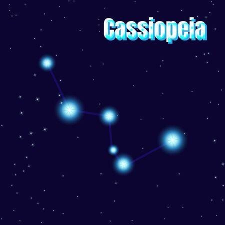 Cassiopeia sing. Star constellation vector element. Constellation symbol on dark blue background. Illustration