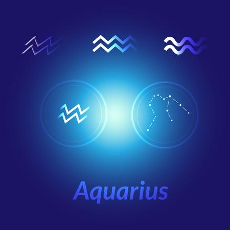 The Water-Bearer aquarius sings set. Star constellation element. Age of aquarius constellation zodiac symbol on dark blue background. Stock Photo