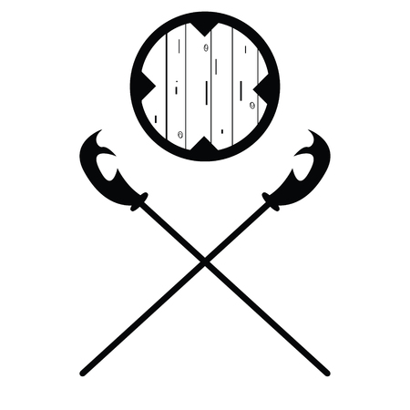 pierce: Set of historical halberd silhouettes. Illustration with slashing weapons on a light background.