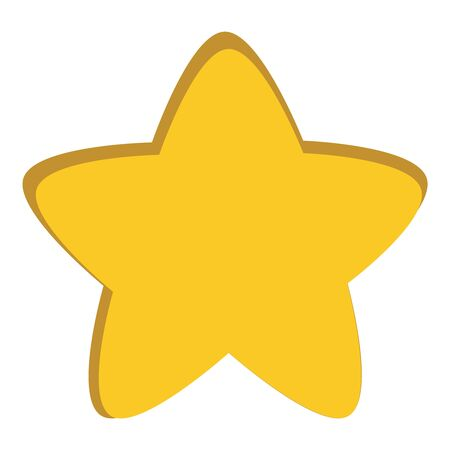 Isolated yellow star icon, ranking mark, chiseled element on white background.