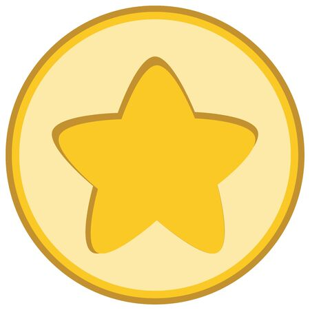 Isolated yellow star icon, ranking mark, chiseled element in light round on white background. Stock Photo