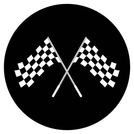 모터 스포츠의 개념적 흑백 체크 무늬 플래그 로고를 넘어 스톡 콘텐츠
