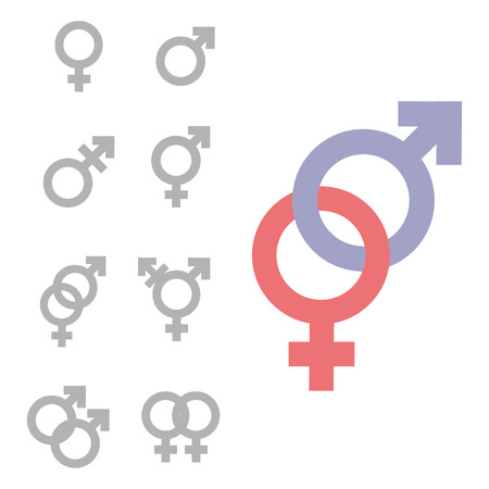 Gender inequality and equality icon symbol set. Male Female girl boy woman man transgender icon. Mars vector symbol. Illustration